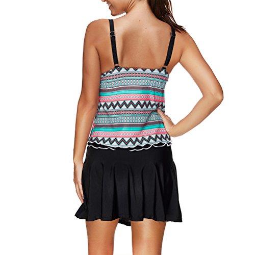Zhhlaixing Womens Two Pieces Multi Coloured Stripe Halter Nadando Tankini Swimsuit Multi