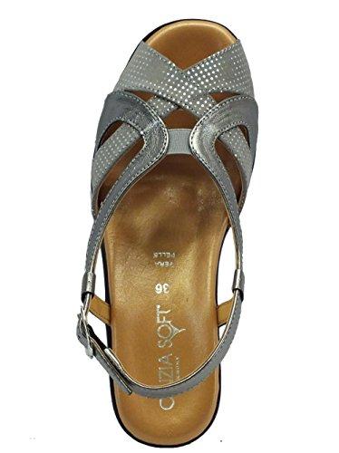 97def4d14370d ... Cinzia Soft Io3690 Capretto Peltro - Sandalias de vestir de Piel para  mujer Peltro