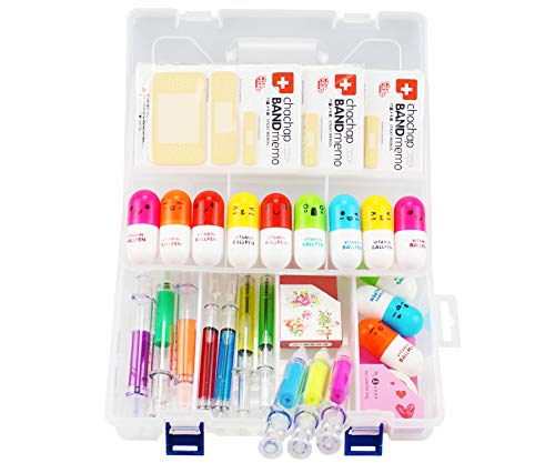 Pen Syringe 6 Syringe Highlighter Pens, 4 Syringe Pens,12 Capsule Pens, 3 Band Aid Sticky Notes, Cute School Supplies Novelty Pens, Prizes And Giveaway
