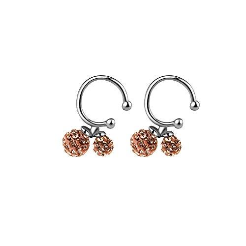 GBJewelry Peach Czech Crystal 4mm,6mm Ball Earcuffs Non Pierced Ears Earrings Women (Peach (Ladybug Halloween Costume Diy)