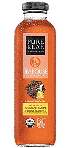 Pure Leaf Tea House Collection, Organic Black Tea Sicilian Lemon & Honeysuckle, 14 oz Glass Bottles (12 (Organic Sicilian Lemons)
