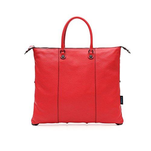 Shopping trasformabile in pelle opaca rossa tg L Dimensione: 43x37 cm / 16,9x14,6