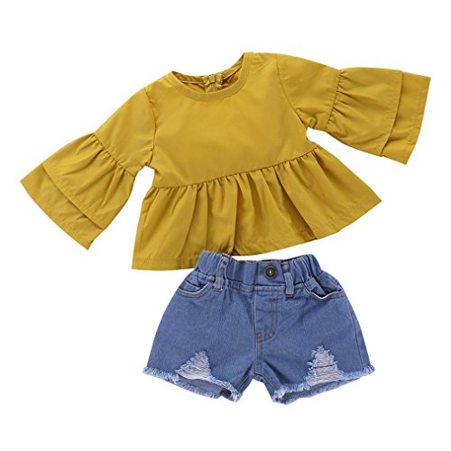 JOFOW Toddle Kids Girls Long Flare Sleeve Solid Tops Denim Cowboy Short Pant Sets