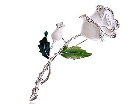 Alilang Silvery Tone White Enamel Painted Rhinestone Rose Flower Fashion Pin Brooch - Enamel Floral Brooch Pin
