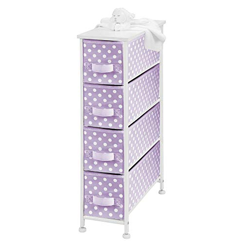 mDesign Narrow Vertical Dresser Drawers – Sturdy Steel Frame, Wood Top, 4 Easy Pull Fabric Bins – Organizer Unit for Child/Kids Room or Nursery – Polka Dot Pattern – Light Purple with White Dots