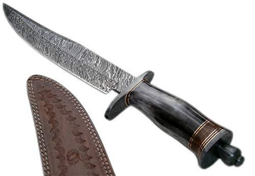Poshland REG-5990 Custom Handmade Damascus Steel Bowie Knife- Stunning Colored Handle