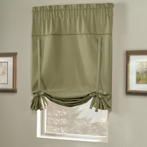 United Curtain Blackstone Blackout Tie Up Shade, 40 by 63-Inch, Sage