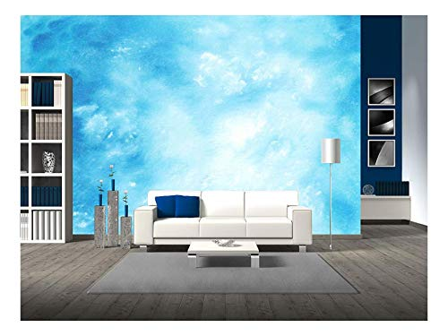- wall26 - Abstract Hand Drawn Watercolor Background Blue Sky and White Clouds - Removable Wall Mural | Self-Adhesive Large Wallpaper - 100x144 inches
