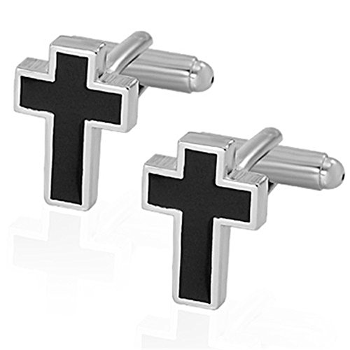 MGStyle Cufflinks For Men - Crucifix Cross Christan Jesus - Black & Silver Tone - Stainless Steel with Deluxe Gift Box - Cufflink Cross