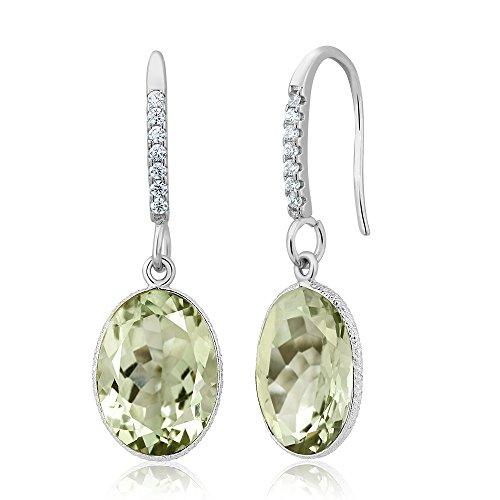 Gem Stone King 925 Sterling Silver 10.00 Carat Green Amethyst 10x14 Oval Dangle Women Earrings