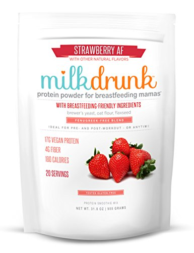 Milk Drunk Fenugreek-Free - Strawberry Protein Powder for Breastfeeding - 20 Servings of Vegan Protein & Lactation-Boosting Ingredients - 17g Protein 4g Fiber 6g Sugar - Oats, Flax, Brewer's Yeast