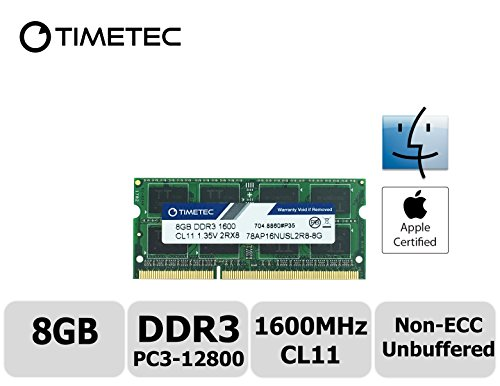 Timetec Hynix IC Apple 8GB DDR3 1600MHz PC3-12800 SODIMM Memory upgrade For MacBook Pro 13-inch/15-inch Mid 2012, iMac 21.5-inch Late 2012/ Early/Late 2013 (8GB) (Apple Mac Pro Memory)