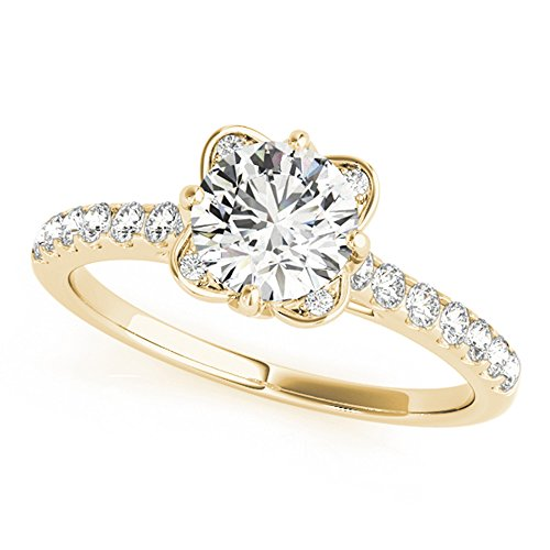 Solid 14K Yellow Gold Womens Wedding Ring Solitaire 1.50 Ct Moissanite...