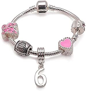 Liberty Charms Childrens Pink Happy 6th Birthday Silver Plated Charm Bracelet Jewellery Gift for 6 Year Old Girls. Present with Gift Box (Other Sizes Available)