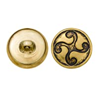 C&C Metal Products 5335 Design Metal Button, Size 30 Ligne, Antique Gold, 36-Pack