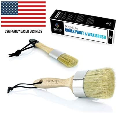 PROFESSIONAL CHALK AND WAX PAINT BRUSH 2PC SET Large DIY Painting and Waxing Tool | Smooth Natural Bristles | Folk Art Home Decor Wood Projects Furniture Stencils | Reusable