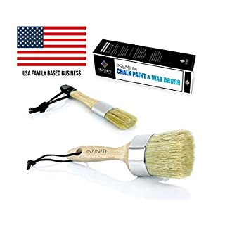 PROFESSIONAL CHALK AND WAX PAINT BRUSH 2PC SET!!!! Large DIY Painting and Waxing Tool   Smooth, Natural Bristles   Folk Art, Home Décor, Wood Projects, Furniture, Stencils   Reusable