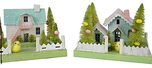 Bethany Lowe Spring Cottages (SM) Set of 2 Paperboard Villages Easter Light Up