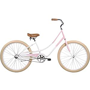 "Pure City Women's 1-Speed Cruiser Bicycle, 26"" Wheels/15.5"" Frame, Duxbury Pink/White/Cream"