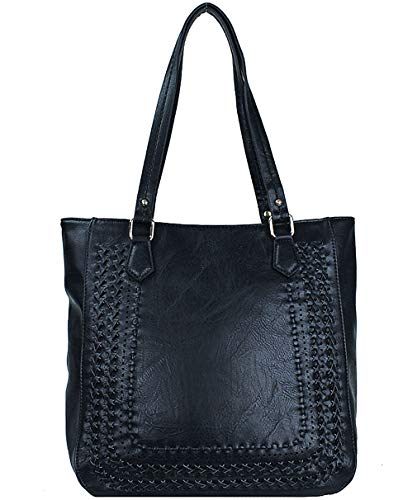 (Madison West Large Zip-Top Shoulder Tote w/Braided Accent (Black))
