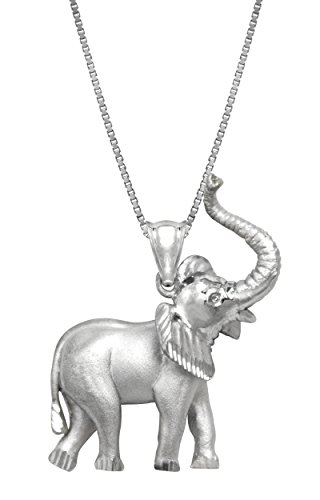 Sterling Silver Elephant Necklace Pendant with 18