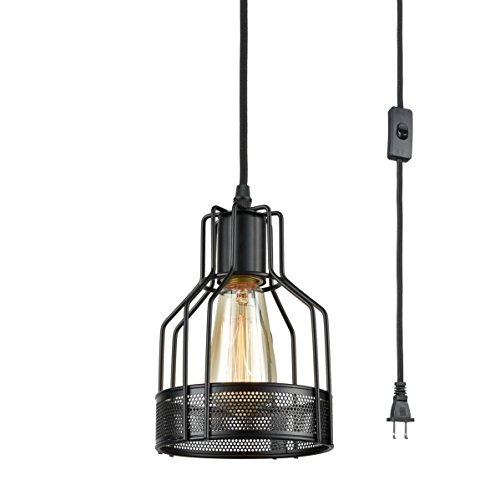 Dazhuan Ceiling Light Wire Cage Webbed Plu-In Pendant Light Metal Black Swag Hanging Light Fixture with Plug-In Cord Toggle (Metal Swag)