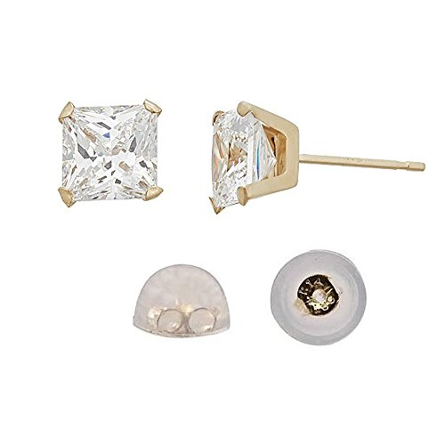 14K Yellow Gold 3.00mm 4-Prong Princess Cut Solitaire Stud & 14K Silicone Back (Pave Prong)