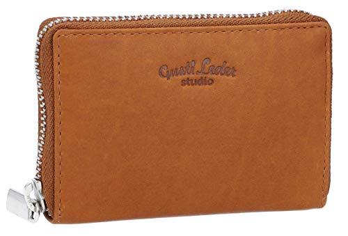Gusti Leder ABEL Kartenhülle Kartenhalter - Kartenetui Brieftasche RFID Schutz Geldbeutel Geldbörse klein Damen Herren Braun Leder Braun Helle Nähte