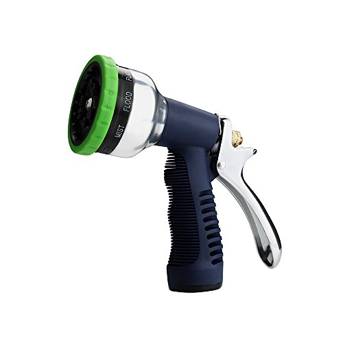 FLORA GUARD Heavy Duty Garden Hose Nozzle-9 Patterns Metal Water Nozzle,High Pressure Watering Sprayer with Washers for Watering Plants, Cleaning, Showering Pets and Car Wash