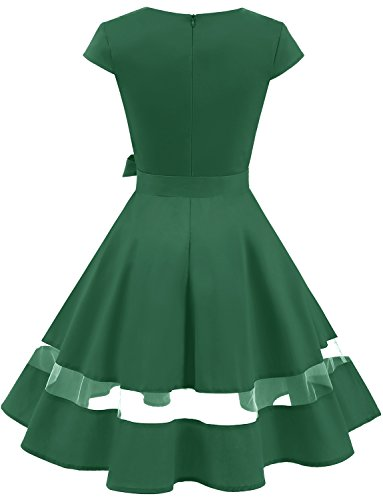 with Vintage Sleeves Women's Dress 1950s Retro Green Swing Rockabilly Gardenwed Dress Cocktail 5zBHO
