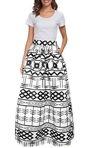 Afibi Women African Printed Casual Maxi Skirt Flared Skirt Multisize A Line Skirt (S-3XL) (XXX-Large, Pattern 8) (Tribal Skirts Long Print)