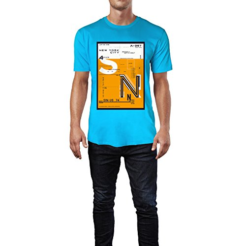 SINUS ART® New York City District Design in Orange Herren T-Shirts in Karibik blau Cooles Fun Shirt mit tollen Aufdruck