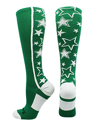MadSportsStuff Crazy Socks with Stars Over The Calf Socks (Kelly Green/White, Small) ()