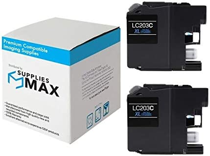 SuppliesMAX Compatible Replacement for Brother DCP-J562//J4120//MFC-J460//J680//J880//J4320//J4620//J5320//J5620//J5720DW Cyan High Yield Inkjet 2//PK-550 Page Yield LC-233C2PKS