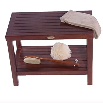 "FULLY ASSEMBLED- 24"" Teak Shower Bench With Shelf- Sitting, Storage, Display, Shaving Foot Rest"