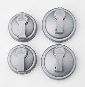 reCAP Mason Jars POUR, 2 Regular Mouth & 2 Wide Mouth, Canning Jar Lids, Silver - 4 Pack