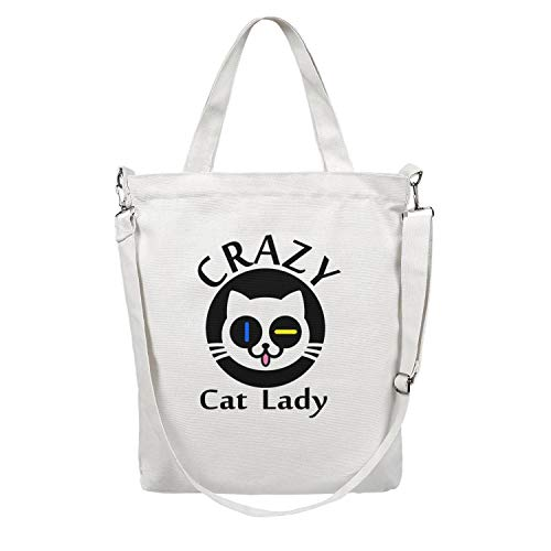 Crazy Cat Lady cat face Zipper Zip white Cotton Canvas Tote Bags Canvas Shopping Bag For Womens