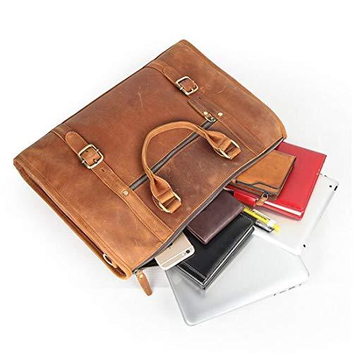 Portátil color Cuero Hombres Pollusui Ordenador Del Clásico Mensajero Macbook Brown El Hombro Bolso Genuino De Los Para Negocio Brown 8aaI6wq