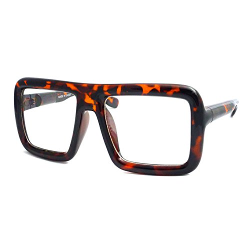 RETRO Large Nerd Bold Thick Square Flat Frame Clear Lens Eye Glasses - Large Nerd Square Glasses