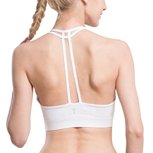Women's Yoga Sports Bra Wirefree Double Lined T-Back White XL (Halter White Apparel)