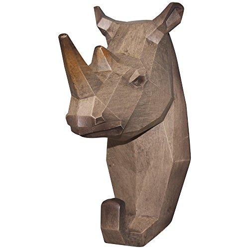 "Comfy Hour 7"" Rhinoceros Head Single Coat Hook Clothes Rack Decorative Wall Hanger"