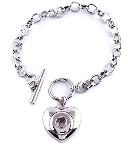 Rockin Angels Silver Toggle Clasp Heart 12mm Mini Petite Snap Charm Bracelet for Ginger ()