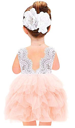 2Bunnies Girl Beaded Peony Lace Back A-Line Tiered Tutu Tulle Flower Girl Dress (Pink Sleeveless Short, 12 Months) ()