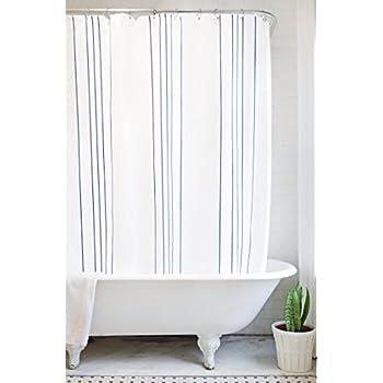 Bathage Modern Stripe Fabric Shower Curtain