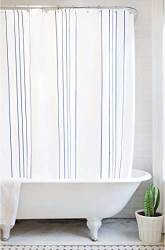 Bathage Modern Stripe Fabric Shower Curtain - Exclusive Waterproof Fabric - No Liner Necessary - Clean Design for The Modern Bath - Blue and White