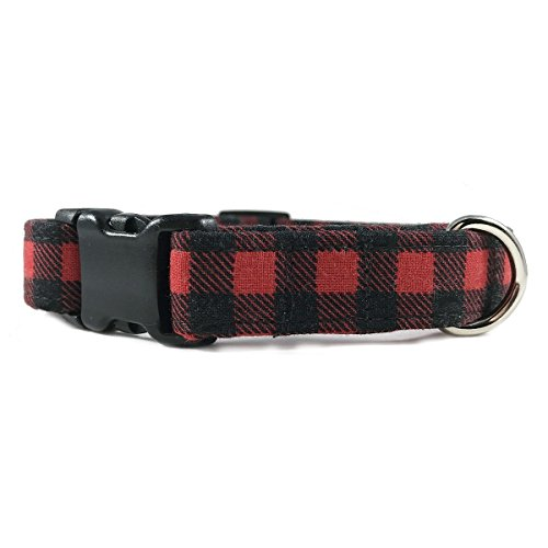 Red & Black Buffalo Plaid Dog or Cat Collar for Pets Size Small 3/4