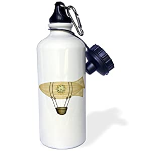 "3dRose ""Steampunk Zepellin Airship Graphic"" Sports Water Bottle, 21 oz, White"