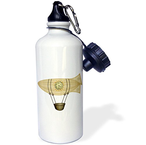 "3dRose wb_102677_1""Steampunk Zepellin Airship Graphic"" Sports Water Bottle, 21 oz, White 3"