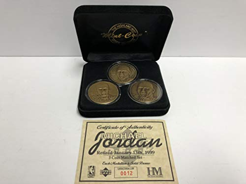 (Michael Jordan Bronze Medallion Limited Edition Mint Coin Set Chicago Bulls from the Highland Mint Limited Edition and is serial numbered 0012 of 1,500)