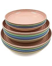 12 sztuk talerzy ze słomy pszenicznej, nietłukących, lekkie, nadają się do kuchenki mikrofalowej, idealne do sałatek, makaronu, steków, owoców (17 cm, 20 cm, 22 cm)